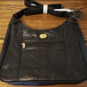 Genuine Leather 2 Zipper Compartment Purse - Black